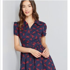 Lobster print button down dress modcloth